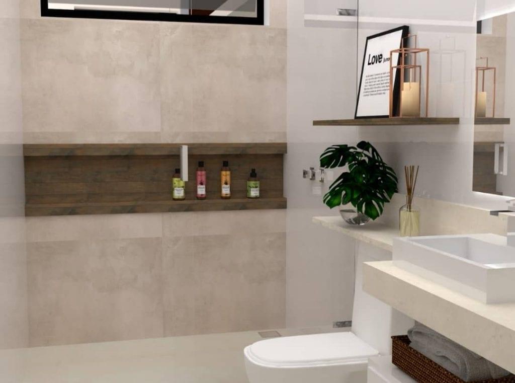 projeto de banheiro pequeno moderno em cores claras e amadeirado