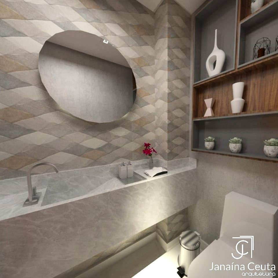 projeto de banheiro pequeno com revestimentos mdoernos, espelho redondo e nichos