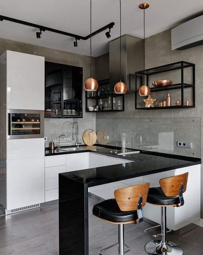cozinha-americana-pequena-moderna-preta