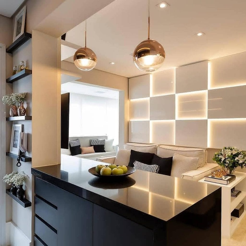cozinha-americana-pequena-apartamento-preta