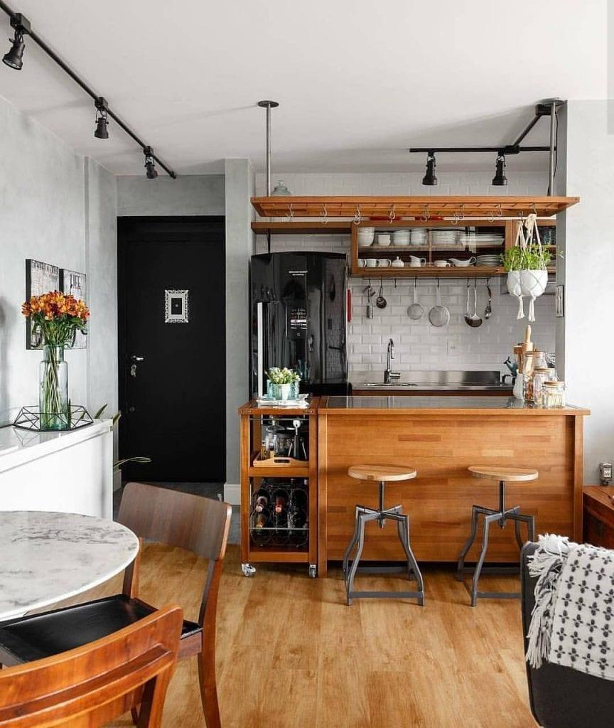 cozinha-americana-pequena-rustica-madeira
