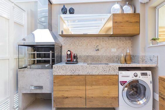 area externa de cozinha com lavanderia