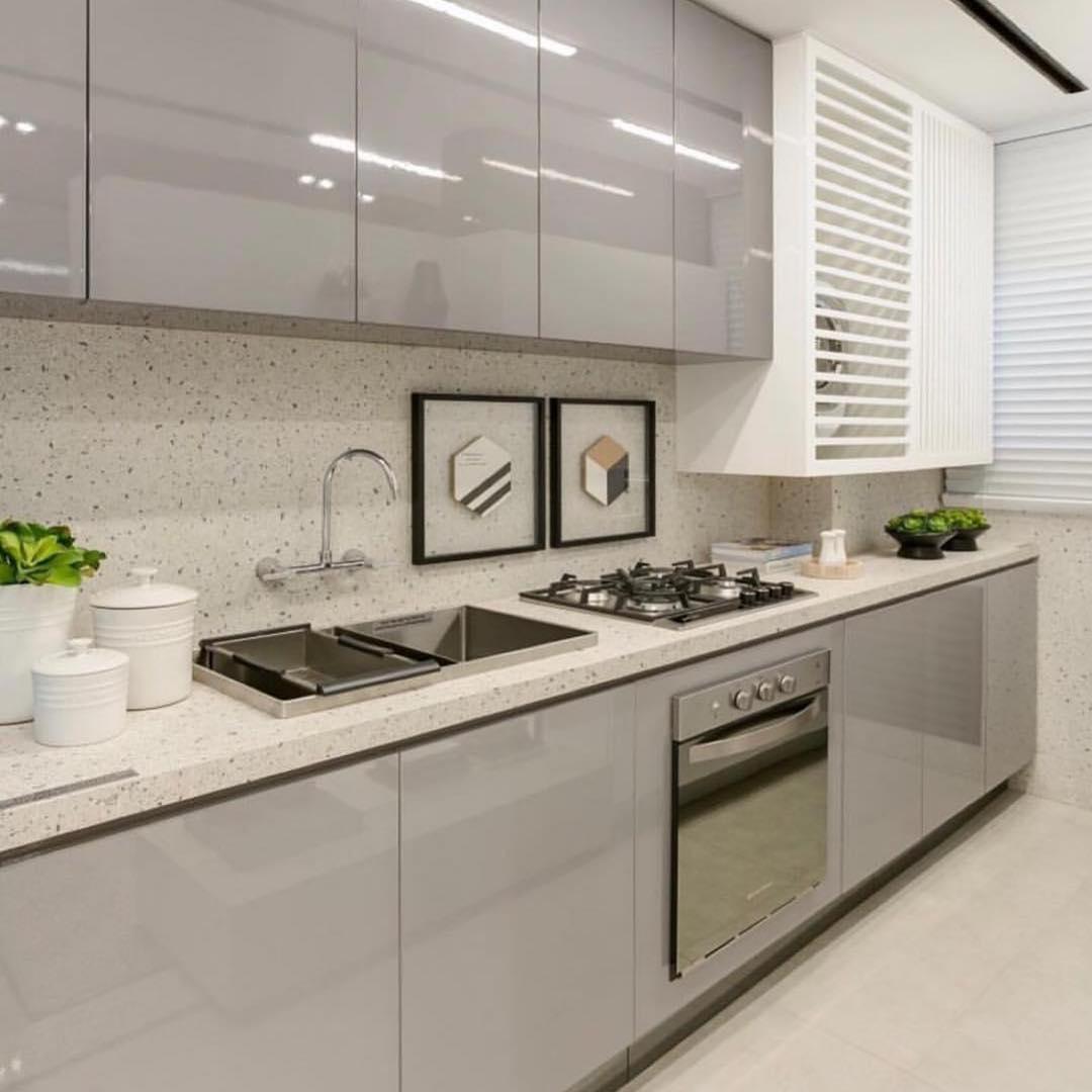 cozinha cinza e branco luxo