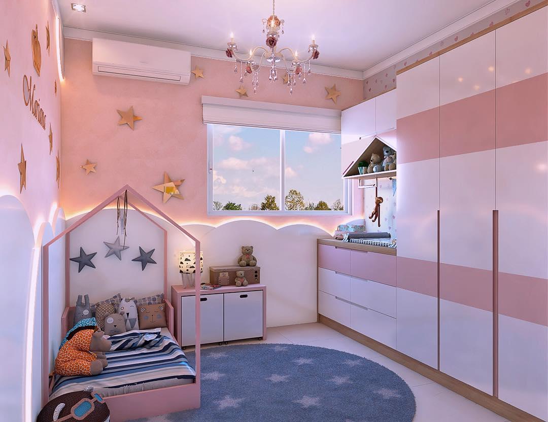 quarto bebê moderno rosa e branco