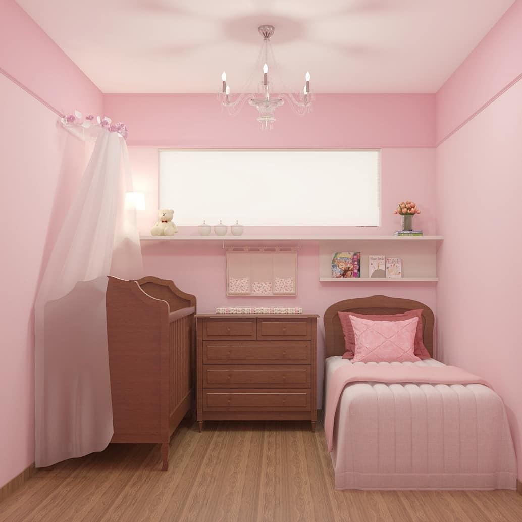 quarto rosa de bebê