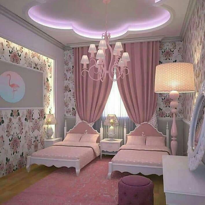 quarto rosa com floral