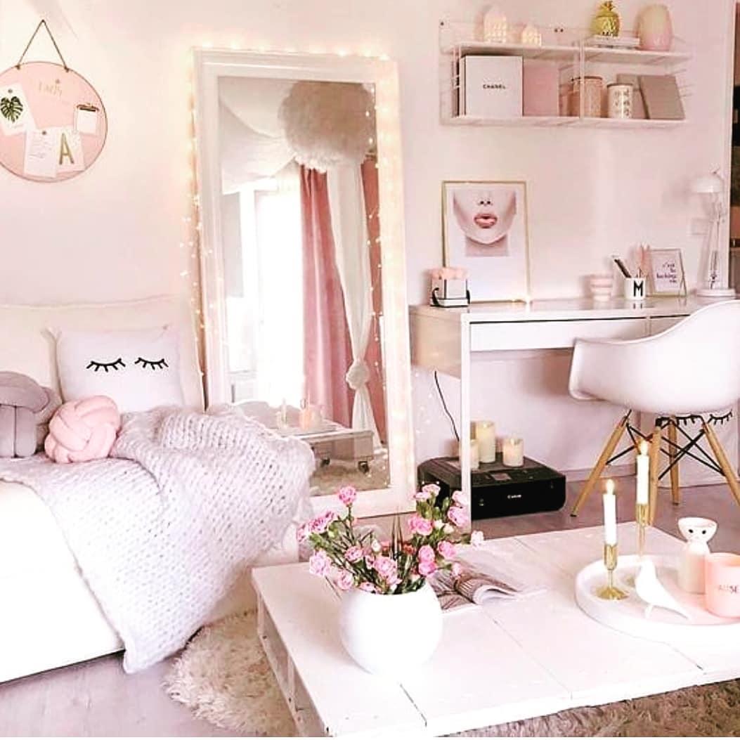 quarto feminino rosa e branco