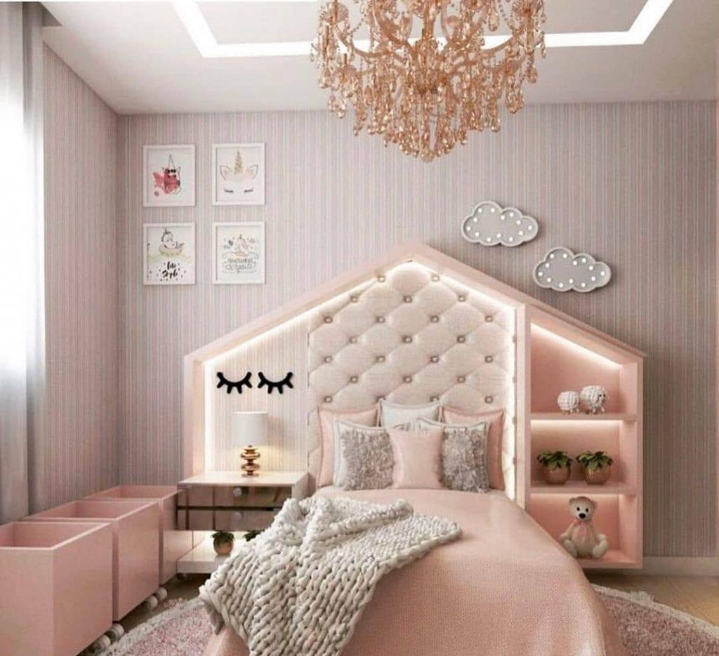 quarto rosa de adolescente