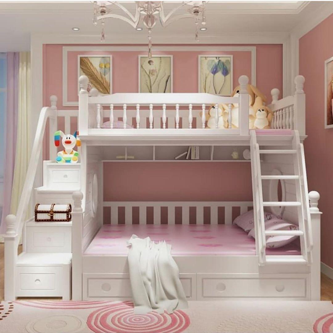 quarto rosa com beliche branco