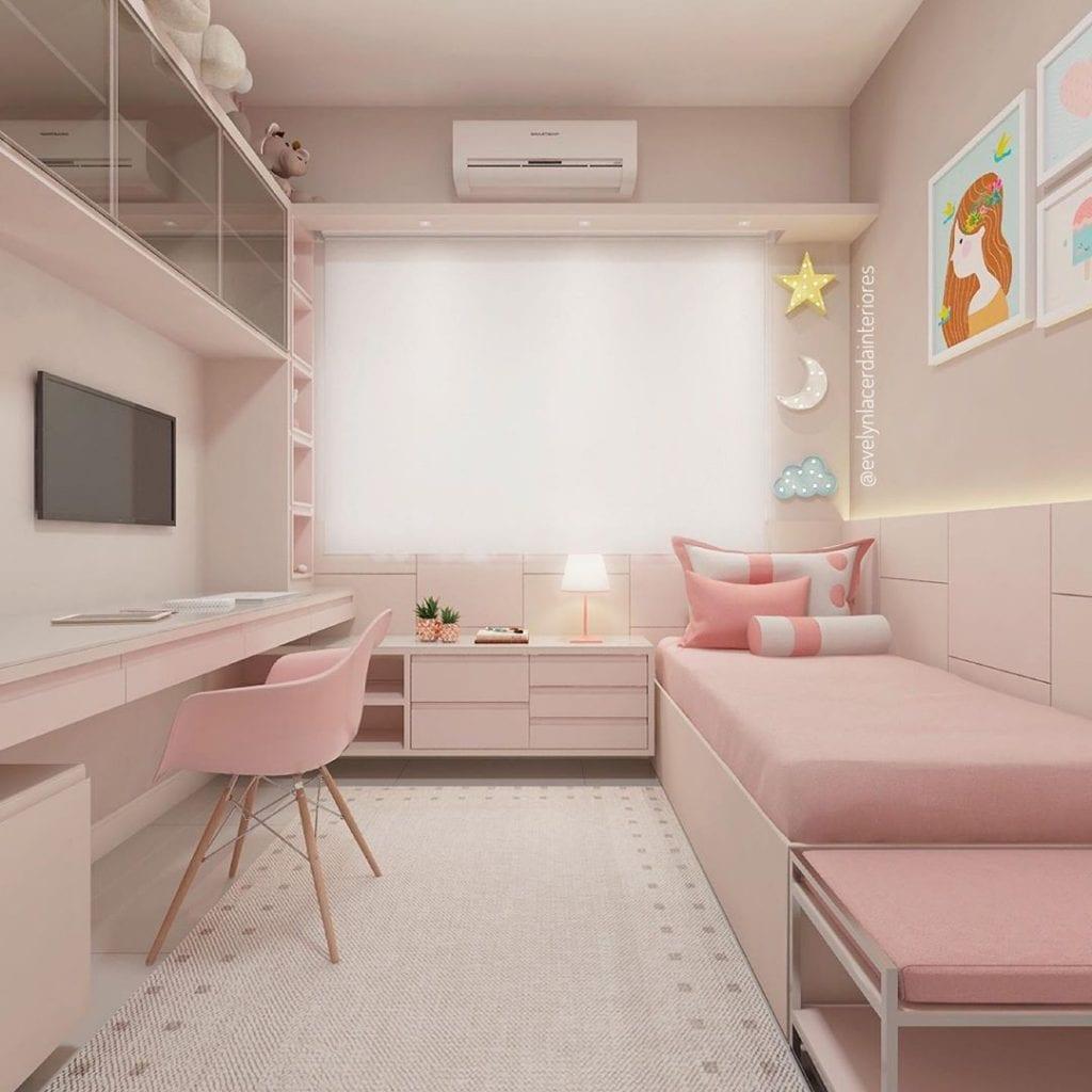 quarto rosa moderno de menina