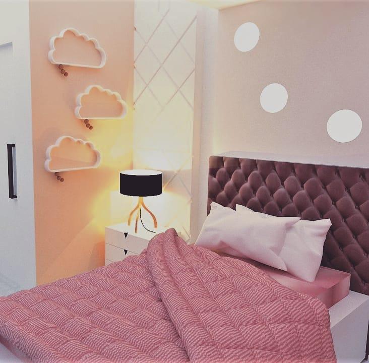 quarto rosa moderno de adulto