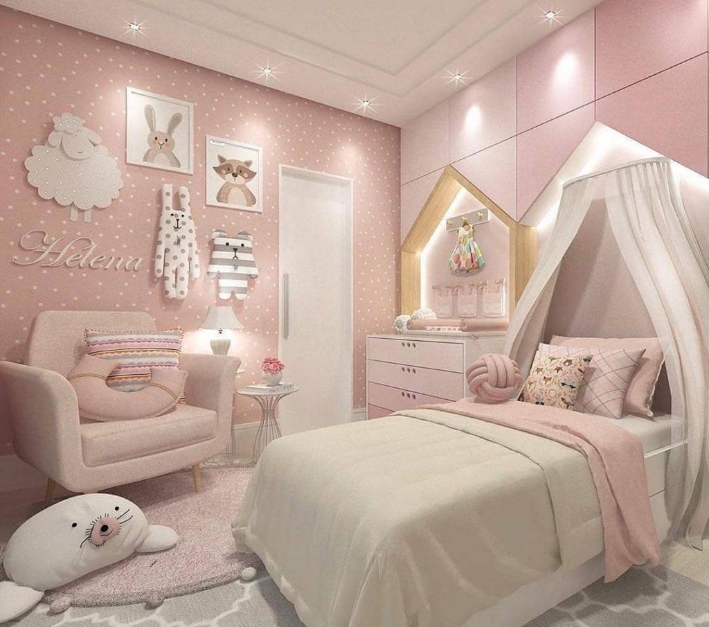 quarto rosa infantil delicado
