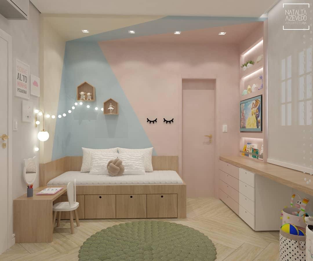 quarto rosa e azul infantil