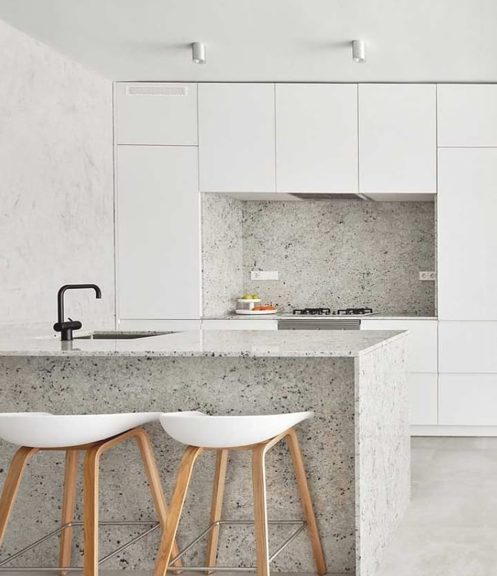 granito branco cozinha clean