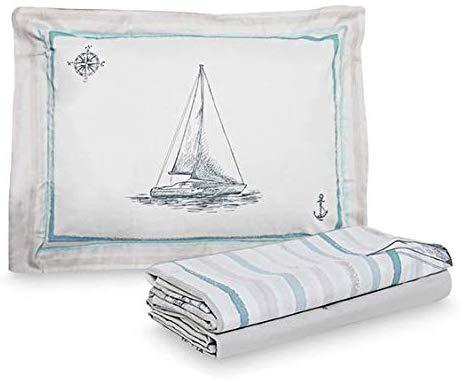 jogo de cama tema praia barco