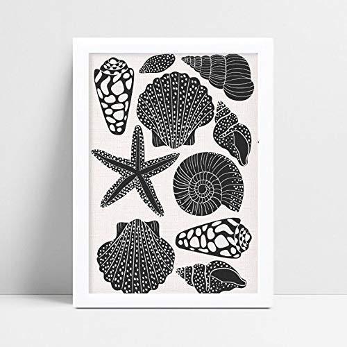 quadro tema praia conchas preto e branco