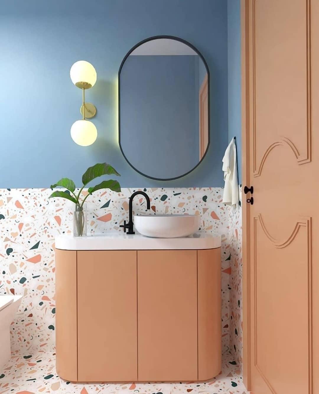porta colorida banheiro lavabo