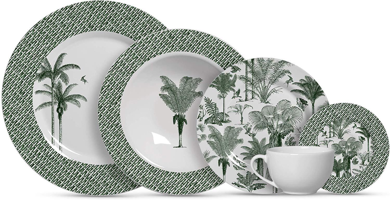 jogo pratos tropical plantas