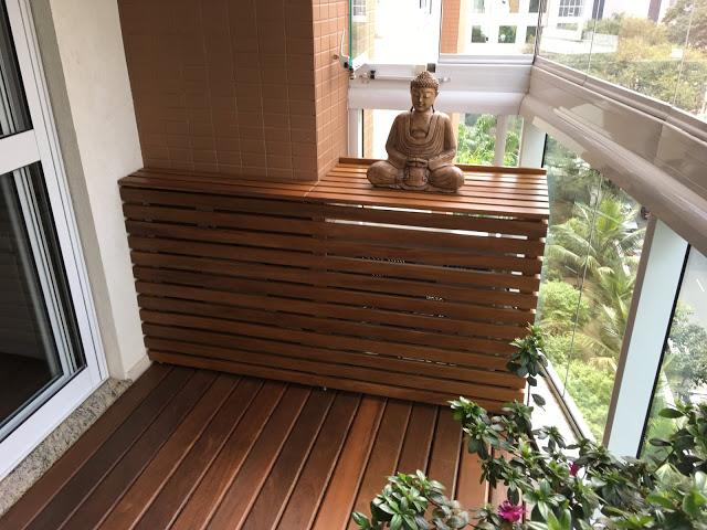 caixa de madeira para esconder ar condicionado na varanda