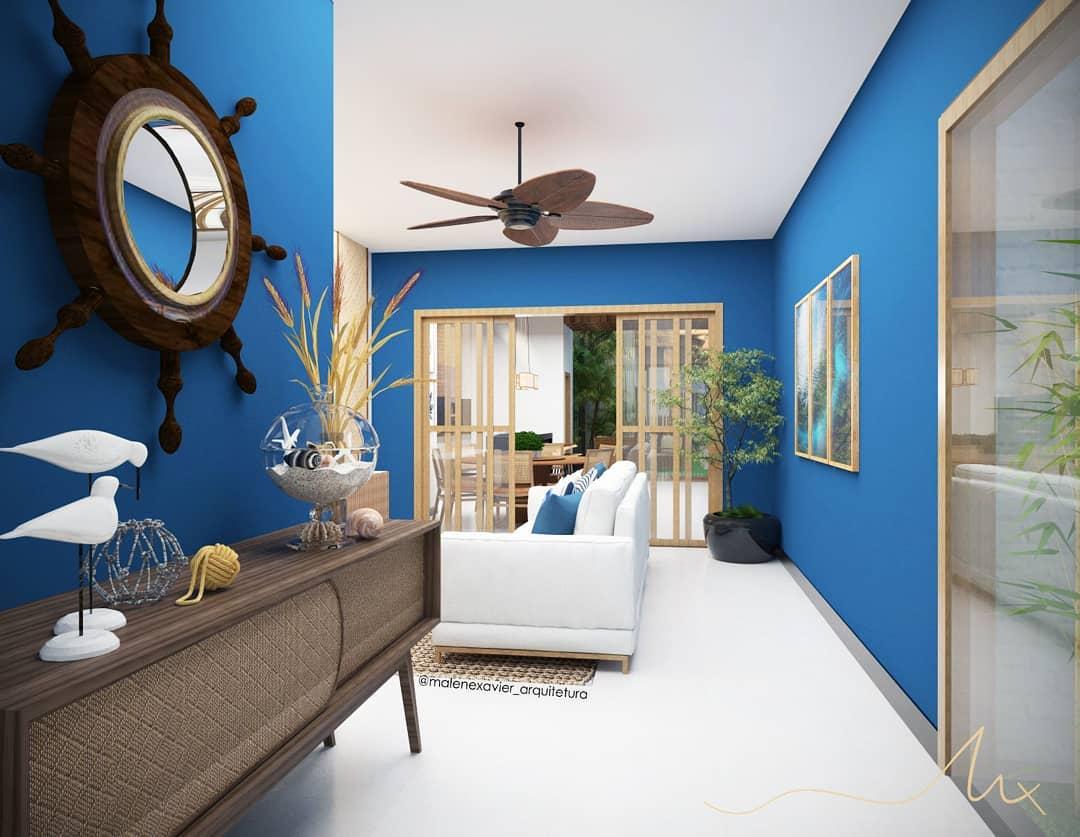 decoração casa de praia parede azul