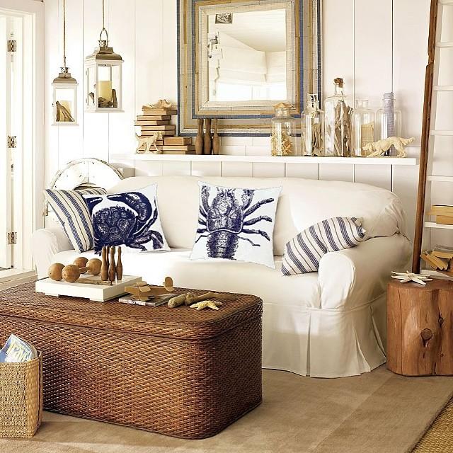 decoração sala casa de praia branca madeira e rustica