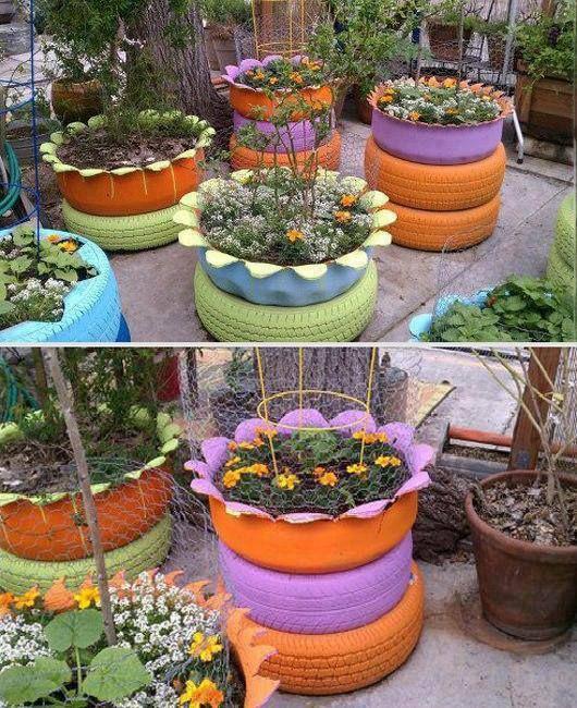 jardim simples com pneus