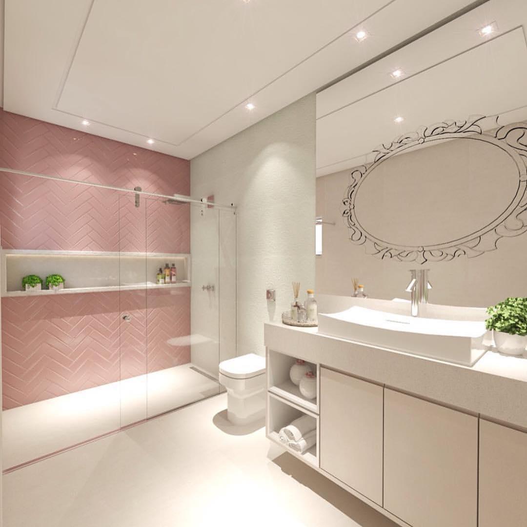 banheiro rose e branco delicado