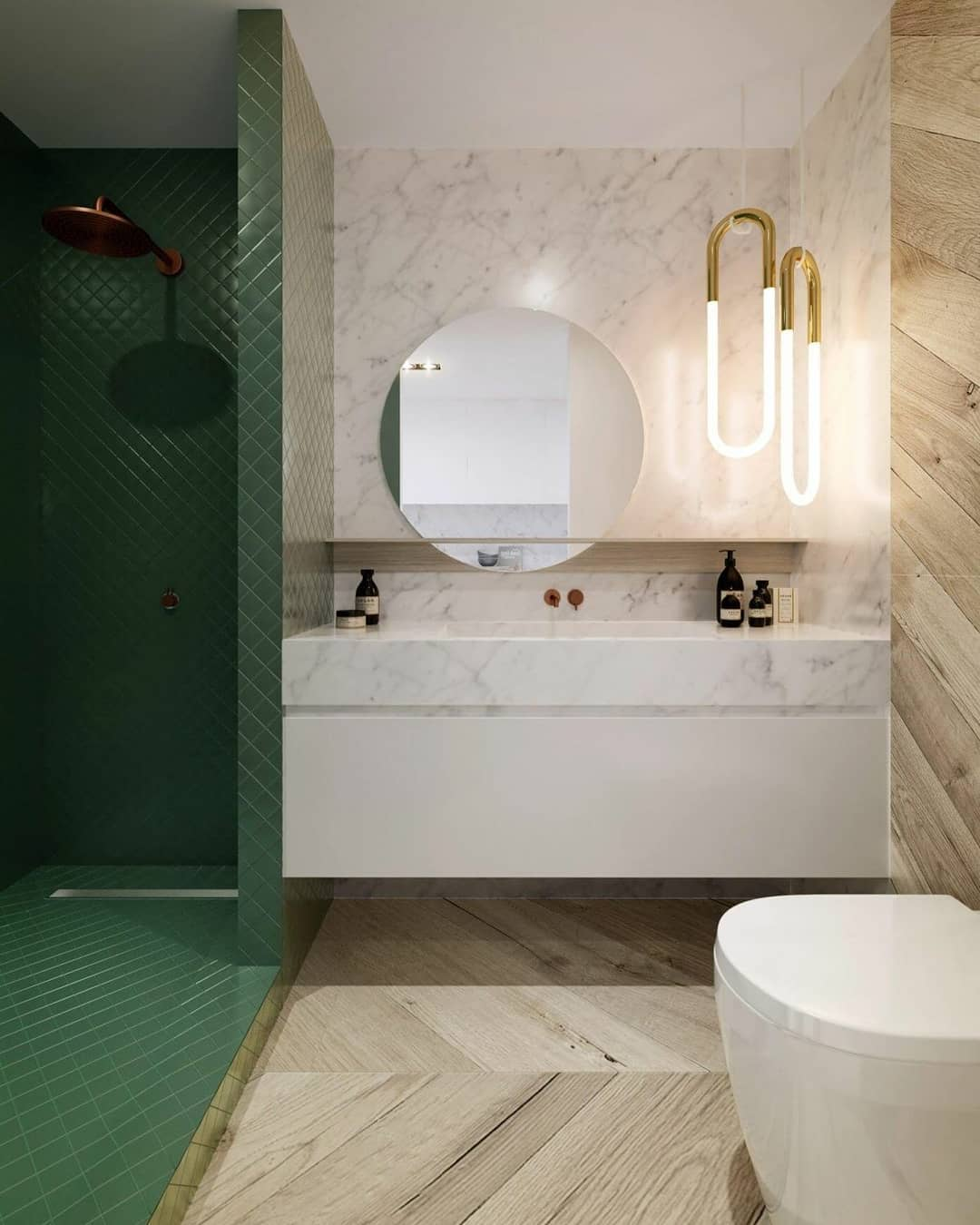 banheiro com área do box verde