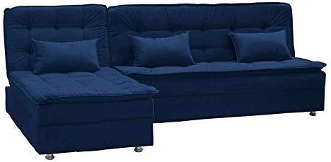 sofa cama azul escuro de veludo