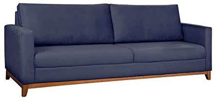 sofa azul marinho de linho e madeira