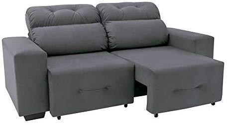 sofa cinza retratil suede