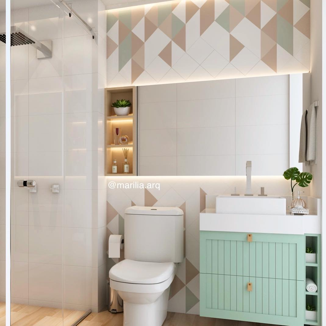 banheiro com movel verde claro