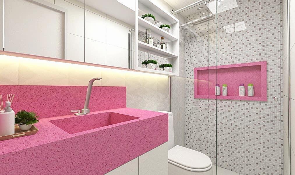 banheiro branco com bancada rosa