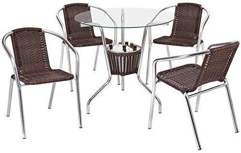 conjunto de mesa e cadeira em fibra sintetica para area externa