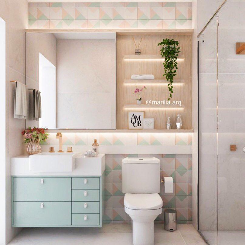 banheiro verde água delicado