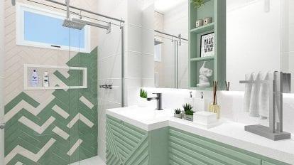 banheiro verde com branco