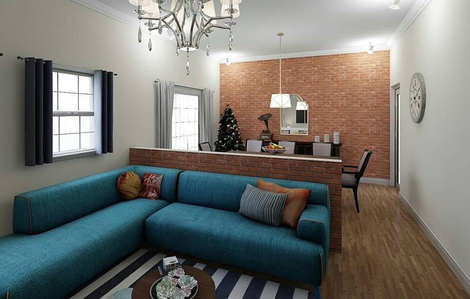 sofa azul de canto com tijolinho