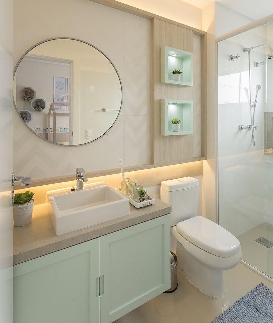 banheiro verde claro e bege