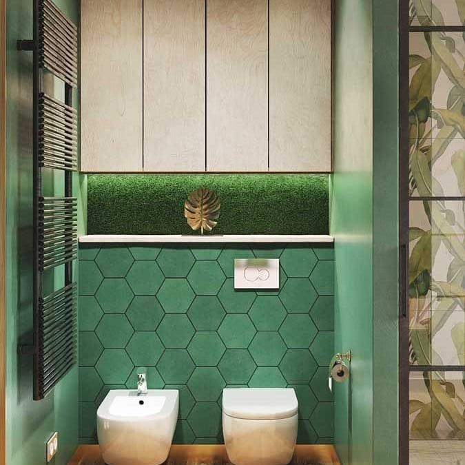 banheiro com revestimento verde