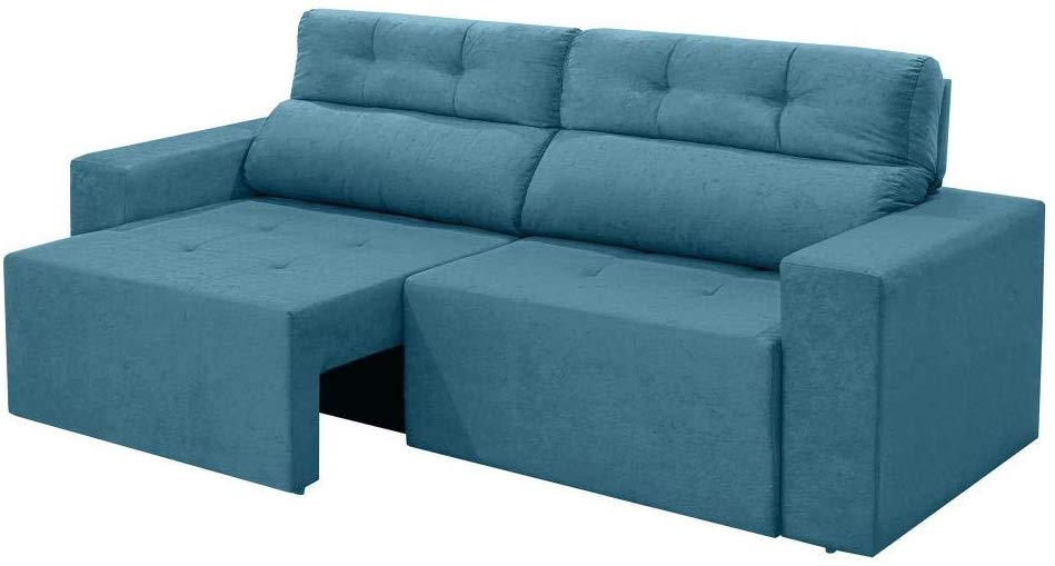 sofa retratil azul turquesa