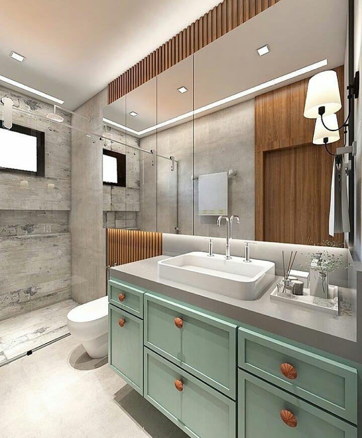 banheiro classico verde