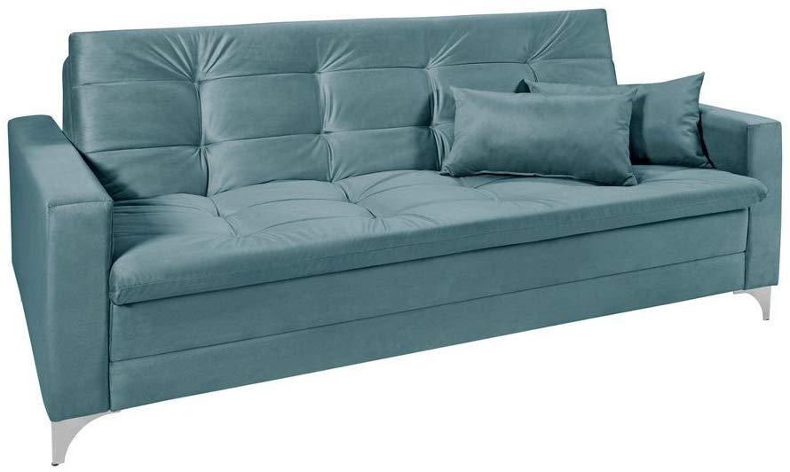sofa cama azul turquesa 3 lugares