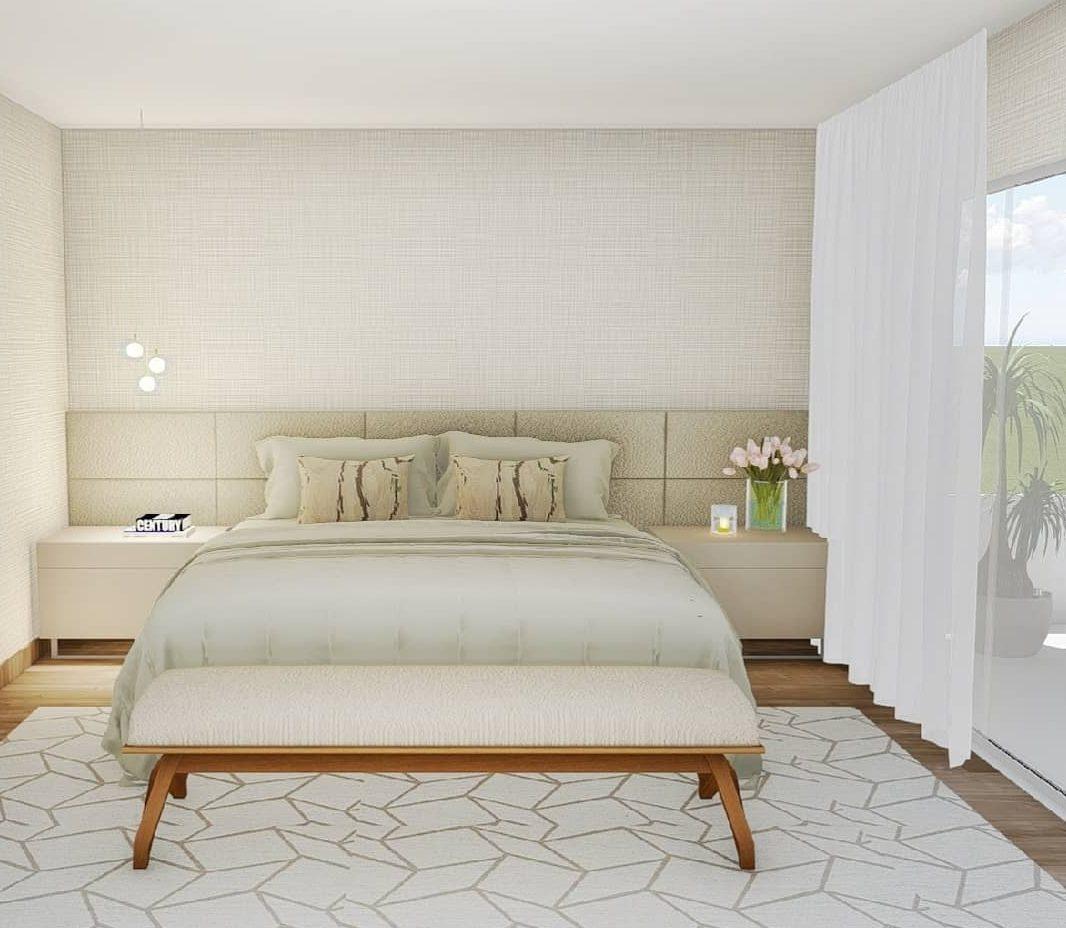 quarto clean de casal em cores neutras