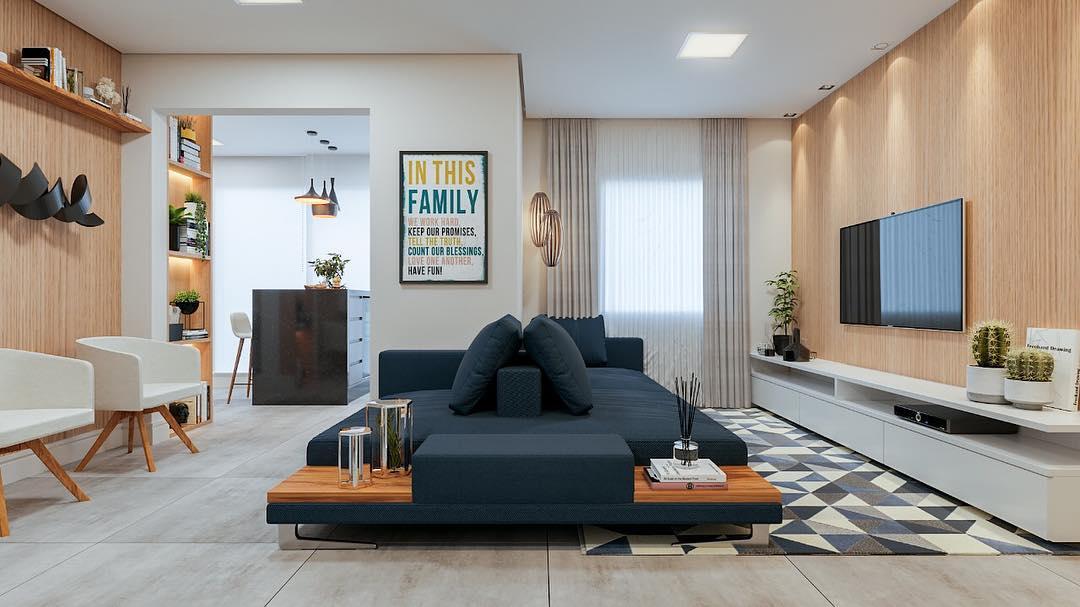 sala moderna com sofa azul marinho