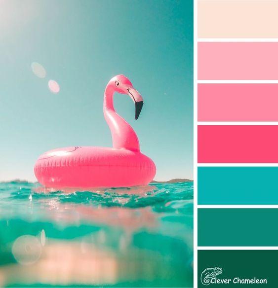 paleta de cores festa flamingo