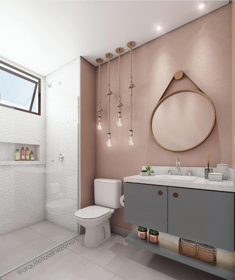 banheiro rosa e cinza moderno