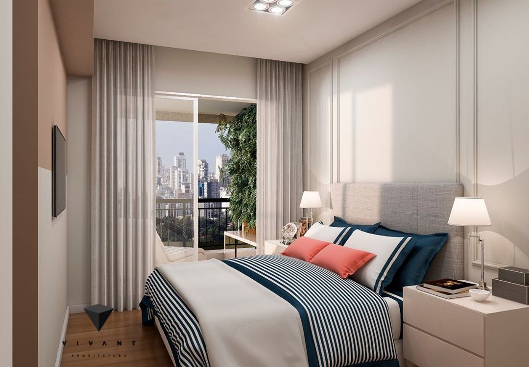 quarto de casal clean em azul marinho e branco