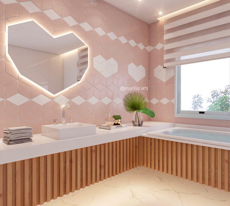banheiro rosa com amadeirado