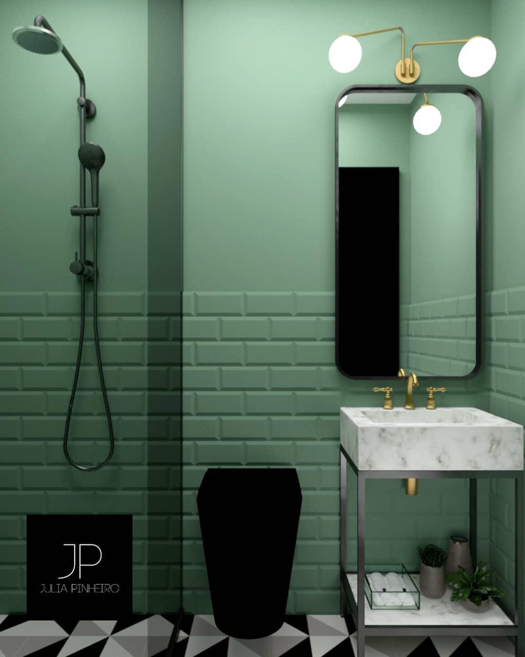 banheiro verde e preto