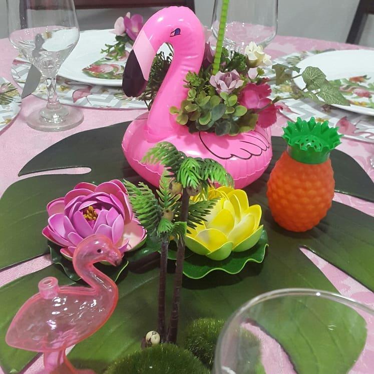 centro de mesa festa flamingo